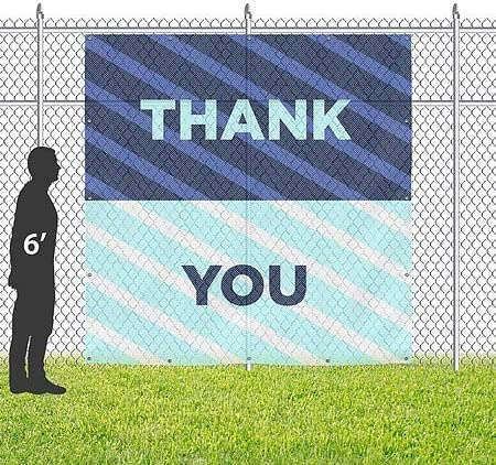 Thank You CGSignLab Stripes Blue Wind-Resistant Outdoor Mesh Vinyl Banner 8x8