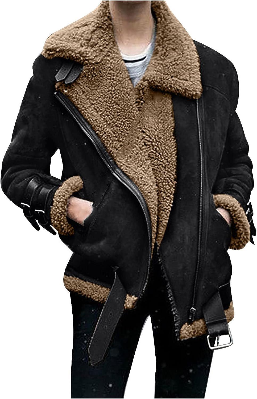 Women Faux Fur Fleece Coat Winter Locomotive Suede Lamb Outwear Warm Lapel Biker Moto Jacket