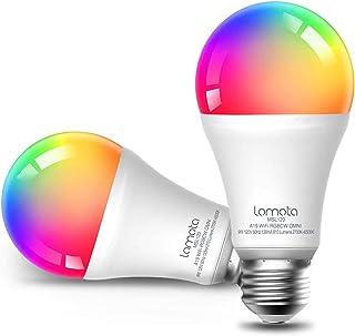 Lampadina Wi-Fi Intelligente Lomota, Compatibile con Alexa e Google Assistant, LED 9W Dimmerabile Multicolore A19 E27 Smar...