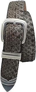 ESPERANTO Cintura Unisex in Pitone metal 4 cm foderato in puro cuoio nabuk, accorciabile