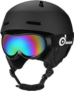 ODOLAND Casco de Nieve con Gafas de esquí para niños y jóvenes, Casco de esquí Certificado por ASTM y EN 1077 para Esquiar, Practicar Snowboard, a Prueba de Golpes y Ajuste Universal.