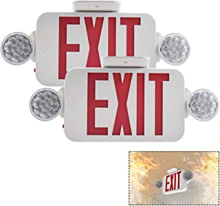 【2 Pack】LFI Lights UL Certified EXIT Sign with Emergency Light Red EXIT Compact Combo Hardwired High Output