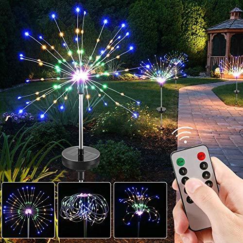 120 LED Solar Feuerwerk Licht CrazyFire Solarleuchte Garten 8 Modi DIY Draussen Landschaft Licht Wetterfest Dekoratives für Garten Rasen Feld Terrasse Weg (2 Stück)