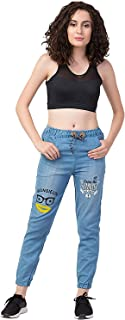 Shabana Creation Women's's Boyfriend Fit Denim Jogger Women's Slim Fit Jeans (Blue_Free Size)