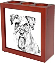 Schnauzer, Wooden Stand for Candles/pens with The Image of a Dog