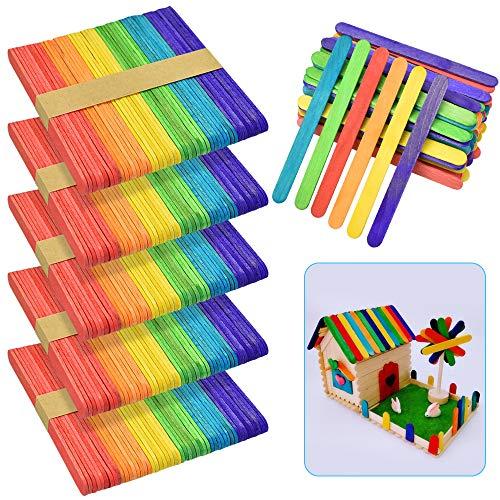 """LYTIVAGEN 300 PCS Palos de Madera Multicolores Abedul Palitos de Colores Natural Palito de Helado para Manualidades Artesanía de DIY para Niños (6.5x1.5x0.1"""")"""