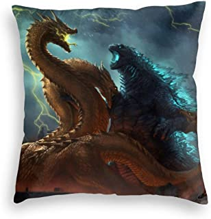 Timomo Go-Shop Pillowcase Super Soft Velvet Decorative Pillow Covers Durable, Godzilla Monsters Vs King Ghidorah in The Storm, Cute Zippered Cushion Cases for Winter Living Room Travel 24x24 Inch