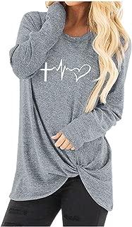 New!HAPPIShare Women's Women's Casual Long Sleeve Solid T Shirts Twist Knot Tunics Tops Blouses
