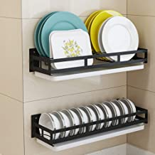 Kitchen Storage Rack Wall-Mounted Stainless Steel Black Dish   Spice Rack - Easy to Install for Kitchen, Storage