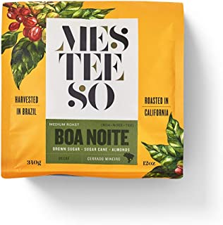 Mesteeso Boa Noite Decaf Espresso Coffee. Gourmet Medium Roast Coffee Harvested in Brazil and Roasted in California, with Almonds, Sugar Cane and Brown