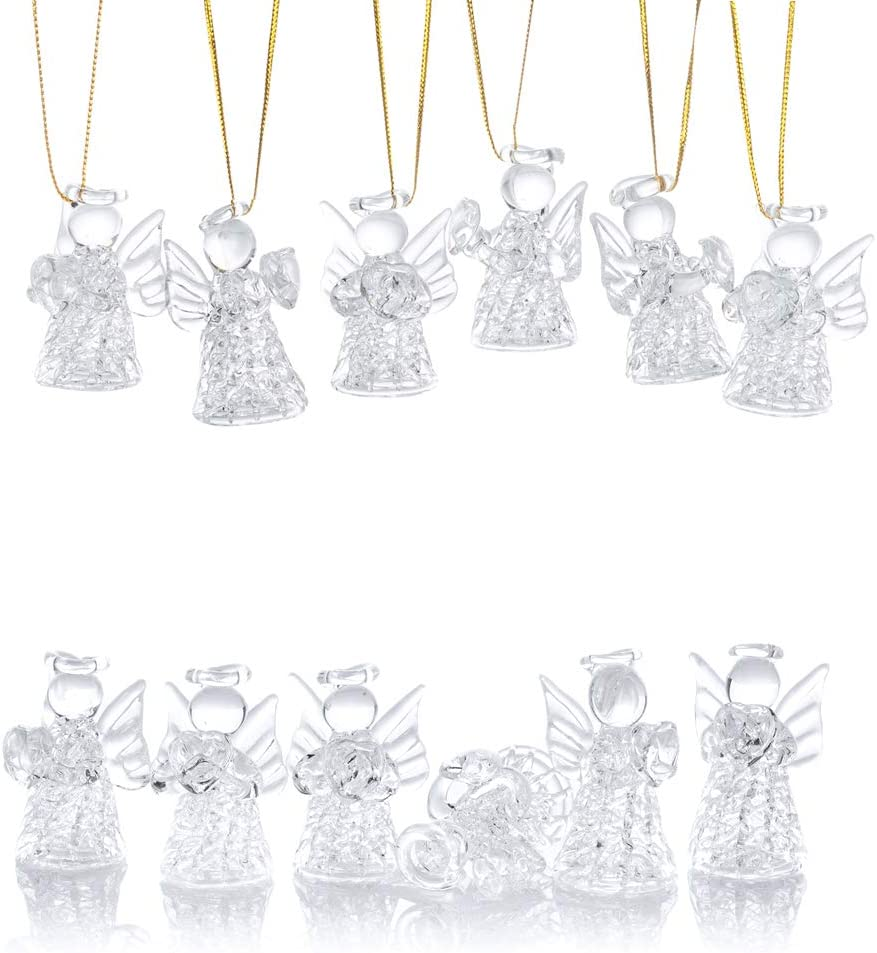 NUPTIO 12 Pcs Beautiful Nippon regular agency Mini Clear Glass Tree Angels Orn Our shop most popular Hanging