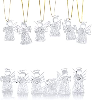 Best Nuptio 12 Pcs Beautiful Mini Clear Glass Hanging Angels Tree Ornaments, Christmas Season Holiday Decorations, Glass Art Prayer Guardian for Childen Teens Loved Ones Encouragement Review