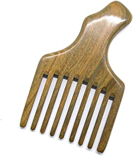 Xuanli Hair/Beard Pick/Wide Tooth Comb – Made Of One Whole Piece Of Natural Green Sandal Wood With Fantastic Handle (M049)