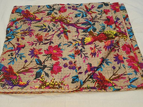Sophia Art Indian Beige Reversible Kantha Blanket, King Size Bird Print Kantha Throw, Handmade Kantha Embroidered Bedspread, (Multi)