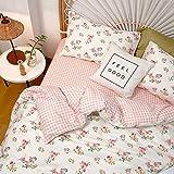 Girls Floral Duvet Cover Queen White Pink Cotton Queen Kids Bedding Set Super Soft Grid Plaid Teens Duvet Cover Full with Zipper, No Comforter