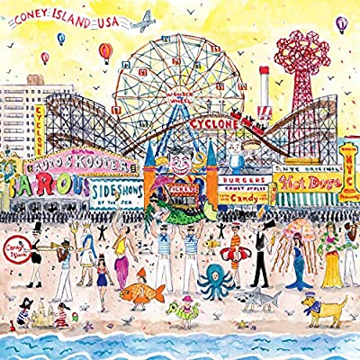 Galison Michael Storrings 500 Piece Jigsaw Puzzle for Families, Summer at The Amusement Park Scene, Great Family Puzzle to Enjoy Together by Galison