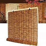 SJMFGF Bambú enrollar persianas para al Aire Libre/Ventana, Tonos de Rodillo de filtrado Solar marrón, Parasol/Cortinas Decorativas Transpirables Persianas de privacidad, para el hogar, sombreado