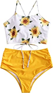 ZAFUL Women Crisscross Ruched Sunflower Tankini Set 2 Pieces Adjustable Spaghetti Straps Swimwear
