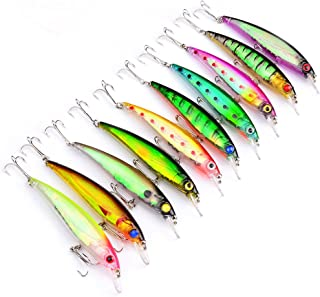 Juemenzhe 10Pcs/Lot 4.4inch 0.47oz Artificial Bait Minnow Fishing Lures Plastic Hard Baits Lure Fishing Lures Kit for Bass Trout Crankbaits Jerkbaits