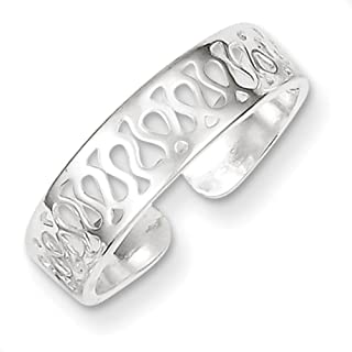 Lex & Lu Sterling Silver Solid Toe Ring LAL4054