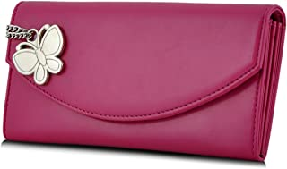 Butterflies Dark Pink Polyester Women's Wallet (BNS 2320 DPK)