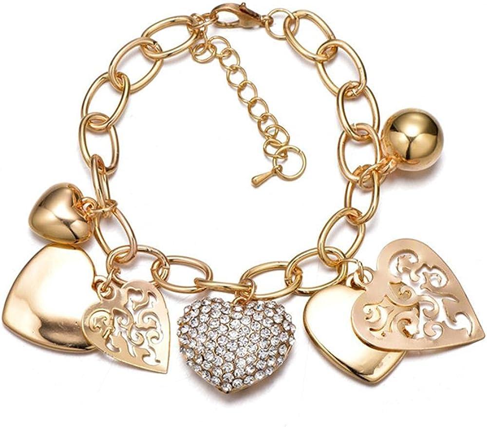 Shymuh Gold Max 47% OFF Chain Link Bracelet Locked Love Heart Fees free Bracelets