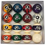 GSE Games & Sports Expert 2 1/4-Inch Professional Regulation Size Marble Swirl Style Billiards Pool Ball...