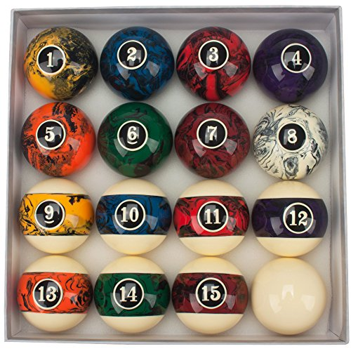 GSE Games & Sports Expert 2 1/4-Inch Professional Regulation Size Marble Swirl Style Billiards Pool Ball Complete Set (Dark Marble Swirl Style)