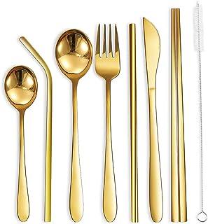 Portable Utensils Silverware Flatware Set 8-Piece Cutlery Set Including Knife Fork Spoon Chopsticks Straws Portable Bag fo...