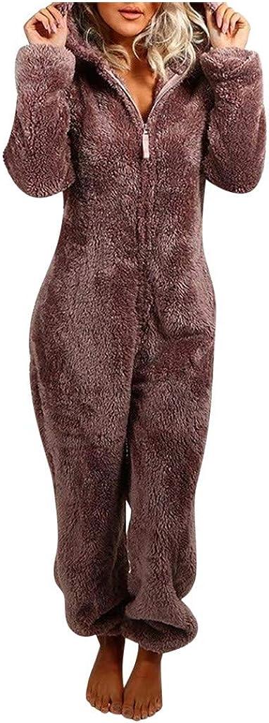 SERYU Women's Winter Warm Jumpsuit Plush Long Sleeve Zip Hooded Pajamas at  Women's Clothing store