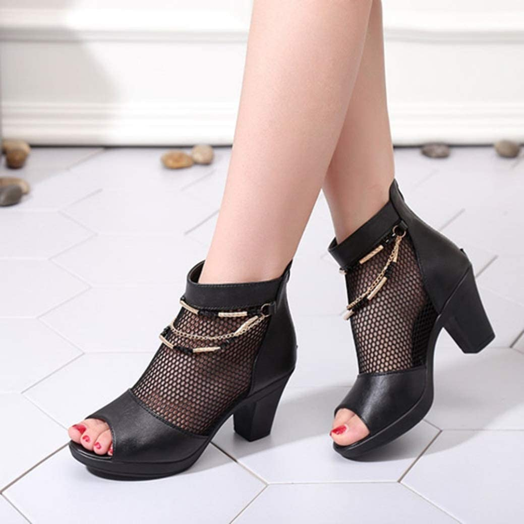 Women Platform High-Heeled Sandals High-top Peep-Toe Courts Shoes Summer Block Heel Side Hollow High Heels 1 Black