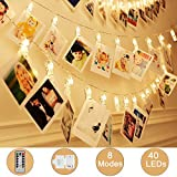 Weepong 40 LED Photo Clips String Lights Holder, Picture Hanging Lights with Remote and...