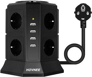 HOVNEE Regleta Vertical Torre Enchufes proteccion sobretension de 8 Tomas Corrientes y 4 Rápida USB Tomas, Cable de extens...