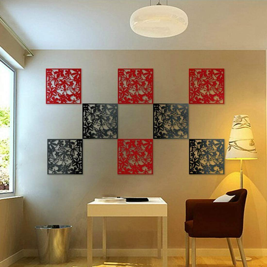 Black, 4 Pcs MAFAGE Hanging Divider Screens Panel DIY Room Splitter Panel Decorative for Hotel Home Bar Room 40 x 40cm