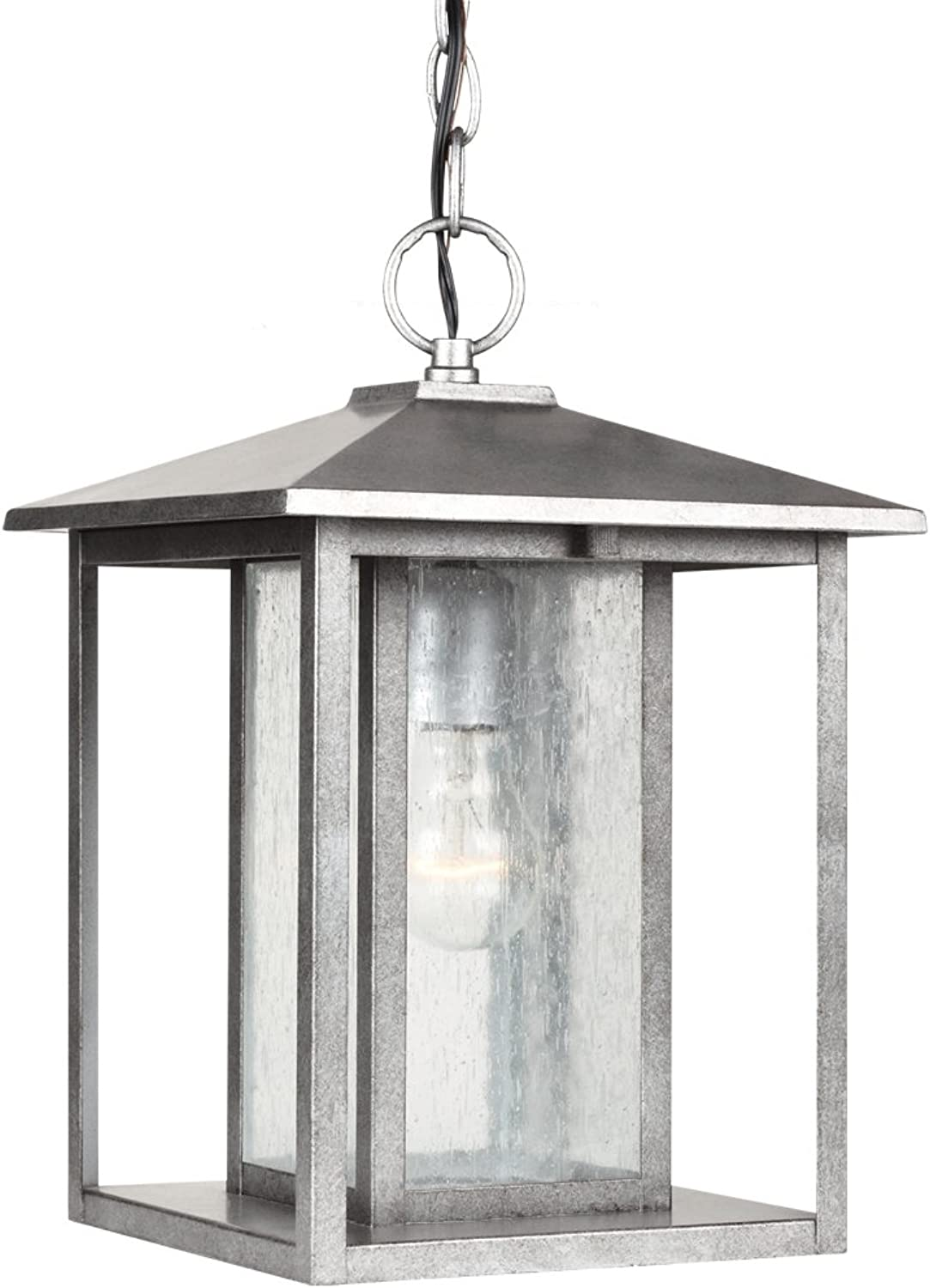 Sea Gull Lighting 62027-57 Outdoor Pendant with Clear Seeded?Glass Shades, Weathered Pewter Finish