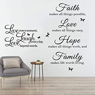 Live Every Moment,Laugh Every Day,Love Beyond Words, TANOKY Motivational Wall Sticker Family Inspirational Wall Quotes Dec...