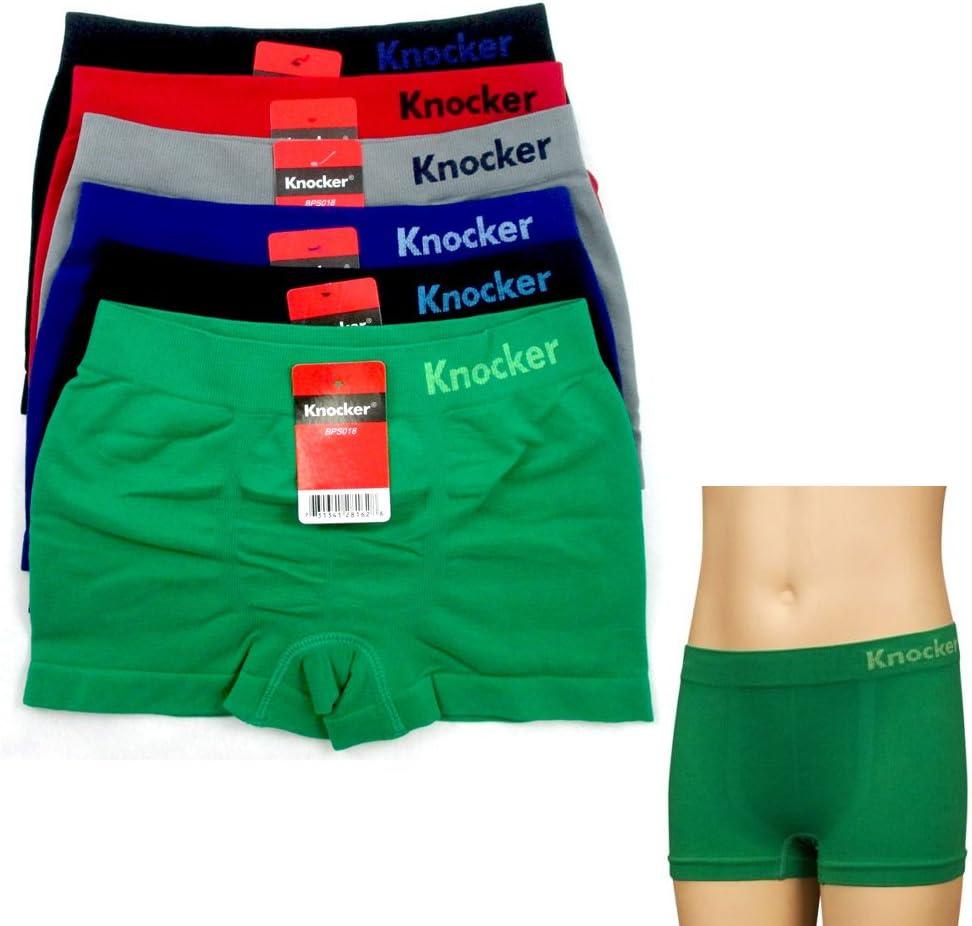 6 Pack Boys Seamless Solid Boxer Briefs Kids Spandex Underwear Soft Active New S