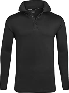 ZITY Mens Polo Shirt Sun Protection Quick-Dry Sweat-Wicking Long Sleeve Sports Golf Tennis T-Shirt Black-L