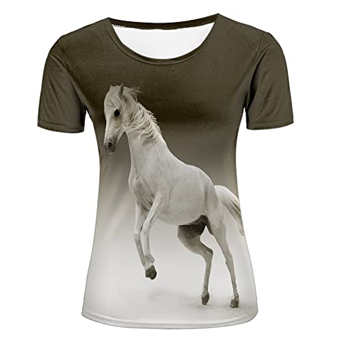 68449ad9c 3D Cool Horse portrait Printed Summer casual T-Shirt Fashion Unisex Tees  tops