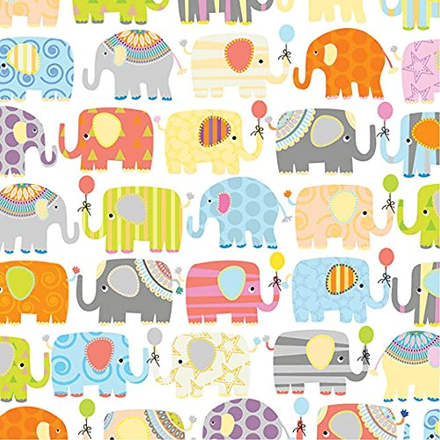 Parade of Elephants Baby Shower Gift Wrapping Paper Flat Sheet - 24