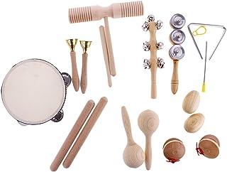 MagiDeal Hand Percussion Set Shaker Bell Sand Maraca Eggs Hammer Shaker Sound Guiro Rhythm Stick Wooden Eudcational Toys
