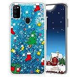 Misstars Weihnachten Handyhülle für Samsung Galaxy M30S/M21, 3D Kreativ Glitzer Flüssig Transparent Weich Silikon TPU Bumper mit Weihnachtsbaum Muster Design Anti-kratzt Schutzhülle