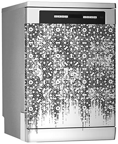 MEGADECOR Vinilo Decorativo para Lavavajillas, Medidas Estandar 67 cm x 76 cm, Motivos Antiguos y Modernos en Blanco y Negro.