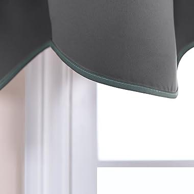 PONY DANCE Grey Scalloped Valances - Window Curtains Home Decoration Window Treatments Top Tab Panel Valances Blackout Tier D