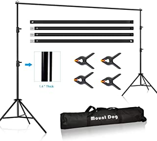 MOUNTDOG 10 x 10ft Photo Video Studio Backdrop Background Support Stand, Adjustable Heavy Duty Photography Background Support System Kit with Carrying Bag