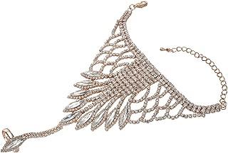 Women's Fashion Crystal Wedding Bridal Bangle Chain Link Finger Ring Bracelet