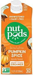 nutpods Pumpkin Spice, (12-Pack), Unsweetened Dairy-Free Creamer, Made from Almonds and Coconuts, Whole30, Gluten Free, No...
