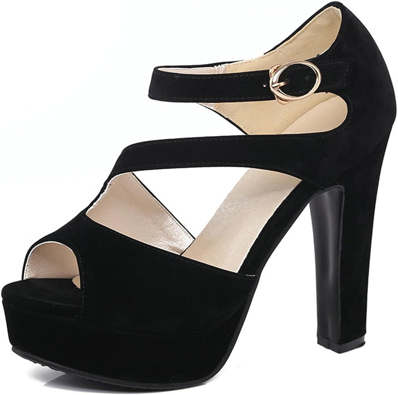 Carlos Foushee Buckle Strap High Heel Woman Pumps Sexy Peep Toe Gladiator Summer Women shoes Platfrom Wedding shoes Big Size 34-43