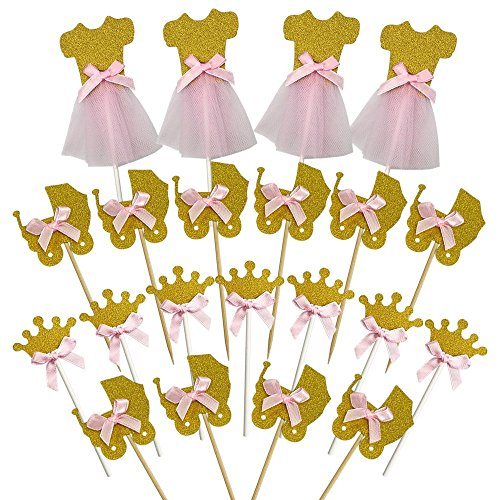 28 PCS Pink and Glitter Gold Girl Baby Shower Cupcake Toppers Cute Crown Dress Baby Carriage Cake Toppers Picks for Wedding Birthday Girls' Party Decorations