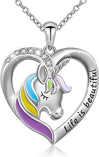 Sterling Silver Forever Love Unicorn in Heart Pendant Necklace Rings for Women Teen Girls